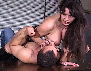 Busting out  slave boy gets in trouble with mistress and her great tits. Slave boy gets in trouble with femdom and her considerable tits